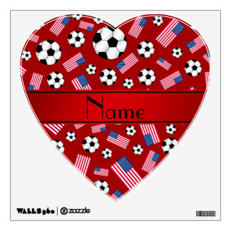 Personalized name red soccer american flag room graphic