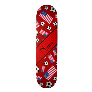 Personalized name red soccer american flag skate board