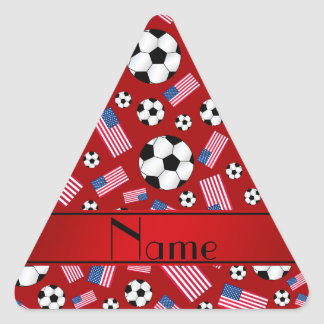 Personalized name red soccer american flag triangle sticker