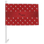 Personalized name red soccer balls car flag