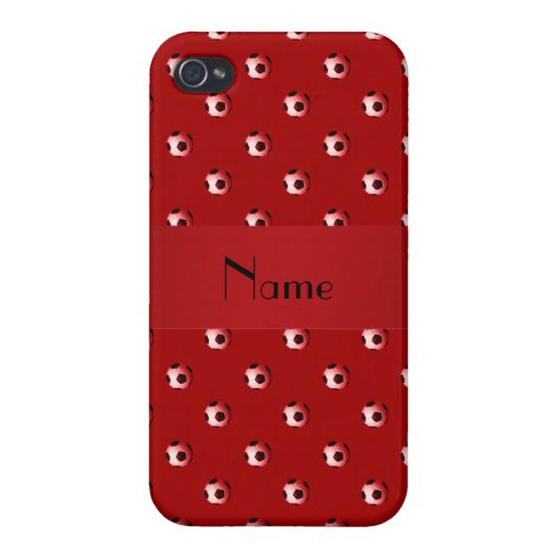 Personalized name red soccer balls iPhone 4/4S case