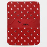 Personalized name red soccer balls swaddle blanket
