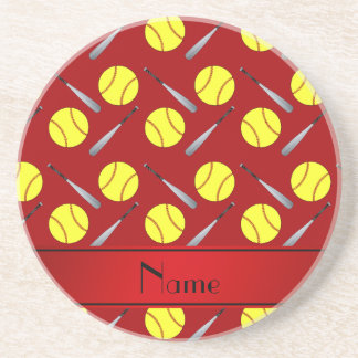 Personalized name red softball pattern drink coaster