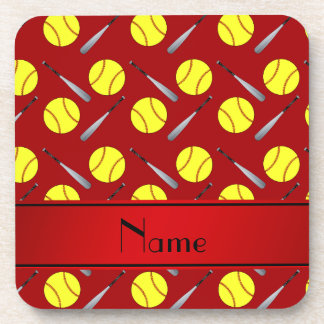 Personalized name red softball pattern beverage coaster