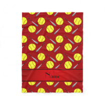 Personalized name red softball pattern fleece blanket