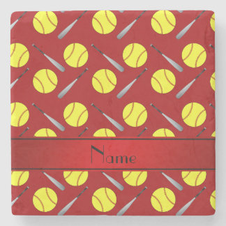 Personalized name red softball pattern stone beverage coaster