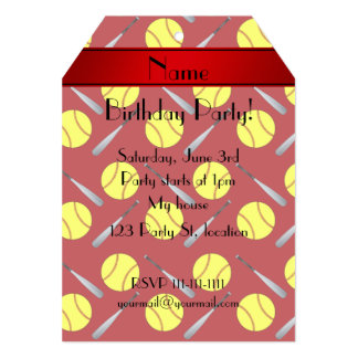 Personalized name red softball pattern 5x7 paper invitation card