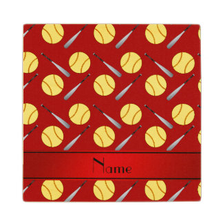 Personalized name red softball pattern maple wood coaster