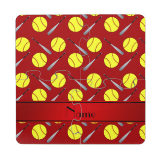 Personalized name red softball pattern puzzle coaster