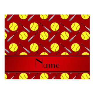Personalized name red softball pattern postcard
