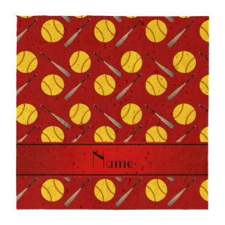 Personalized name red softball pattern coaster