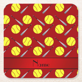 Personalized name red softball pattern square paper coaster