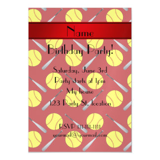 Personalized name red softball pattern magnetic invitations