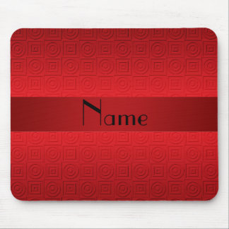 Personalized name red squares circles mouse pad