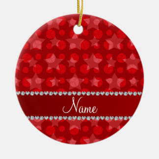 Personalized name red stars volleyballs ceramic ornament