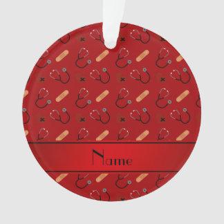 Personalized name red stethoscope bandage heart
