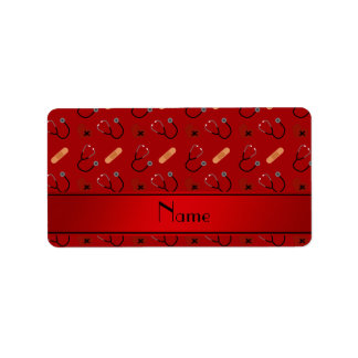 Personalized name red stethoscope bandage heart labels