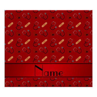 Personalized name red stethoscope bandage heart poster