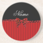 Personalized name red stripes red leopard bow coaster