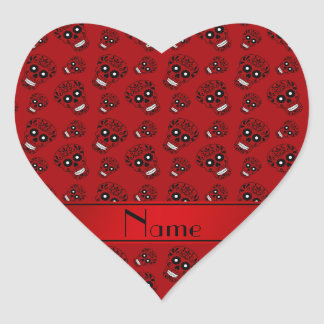 Personalized name red sugar skulls heart sticker