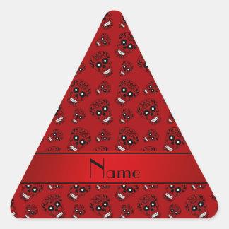Personalized name red sugar skulls triangle sticker