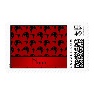Personalized name red sumo wrestling stamp