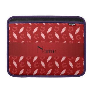 Personalized name red surfboard pattern MacBook sleeves