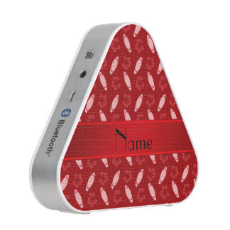 Personalized name red surfboard pattern speaker