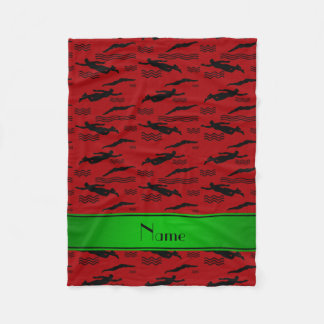 Personalized name red swimming pattern fleece blanket
