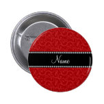 Personalized name red swirls 2 inch round button