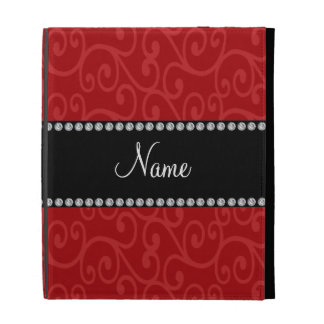 Personalized name red swirls iPad folio cases