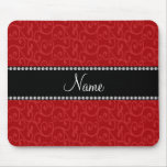 Personalized name red swirls mouse pad