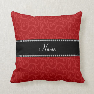 Personalized name red swirls pillows