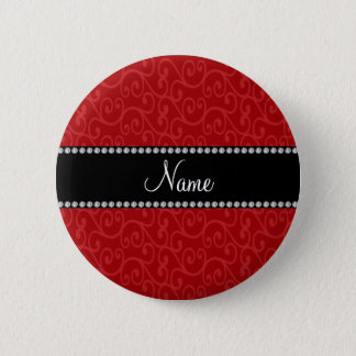Personalized name red swirls pinback button