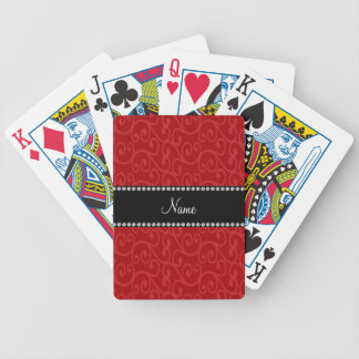 Personalized name red swirls poker cards