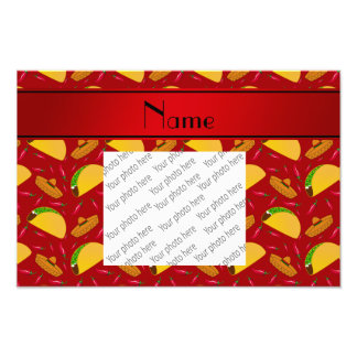 Personalized name red tacos sombreros chilis photo print