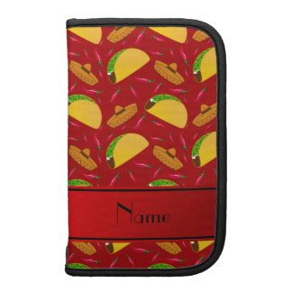 Personalized name red tacos sombreros chilis organizers