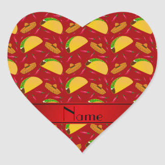 Personalized name red tacos sombreros chilis heart sticker