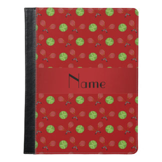 Personalized name red tennis balls rackets iPad case