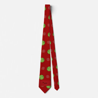Personalized name red tennis balls rackets neck tie
