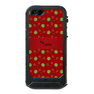 Personalized name red tennis balls rackets waterproof iPhone SE/5/5s case
