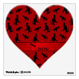 Personalized name red trex dinosaurs wall decal