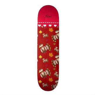 Personalized name red turkey's leaves custom skate board