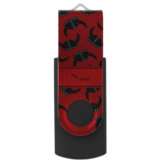 Personalized name red viking hat pattern USB flash drive