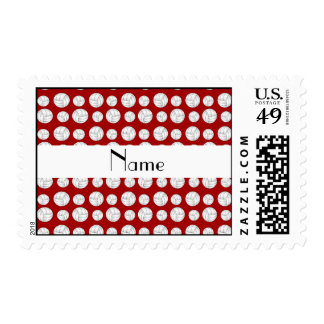 Personalized name red volleyball balls postage stamp