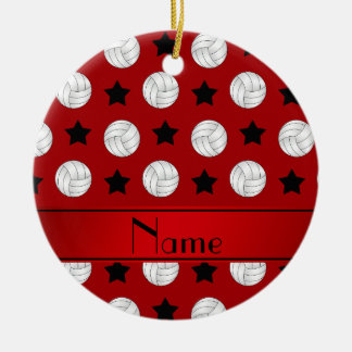 Personalized name red volleyball black stars ceramic ornament