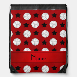 Personalized name red volleyball black stars drawstring bag