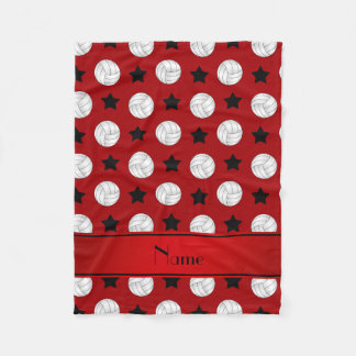 Personalized name red volleyball black stars fleece blanket