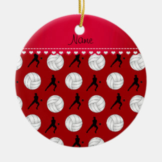 Personalized name red volleyballs silhouettes ceramic ornament