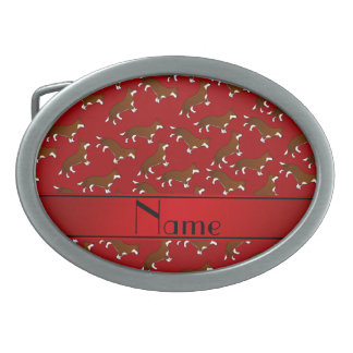Personalized name red welsh corgi cardigan dogs oval belt buckles